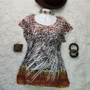 One World L Cap Sleeve Ruched Top Animal Print